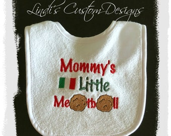 Embroidered Baby Bib, Gender Neutral Baby Gift, Mommy's Little Meatball, Italian Baby Gift, Italian Baby Shower, Pasta Baby Bib, Unique Gift