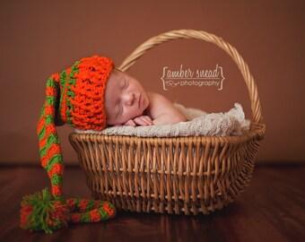 Neutral Baby Gift, Autumn Fall Crochet Baby Hat, Newborn Photography Prop Elf Style Hat, Orange Green Pumpkin Baby Hat, Unique Baby Gift