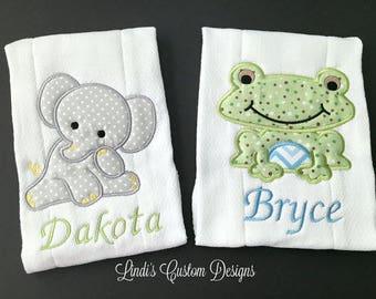 Elephant Frog Burp Cloth Set, Embroidered Elephant and Frog Burp Cloth, Twin Baby Gift, Personalized Embroidered Baby Gift, Unique Baby Gift