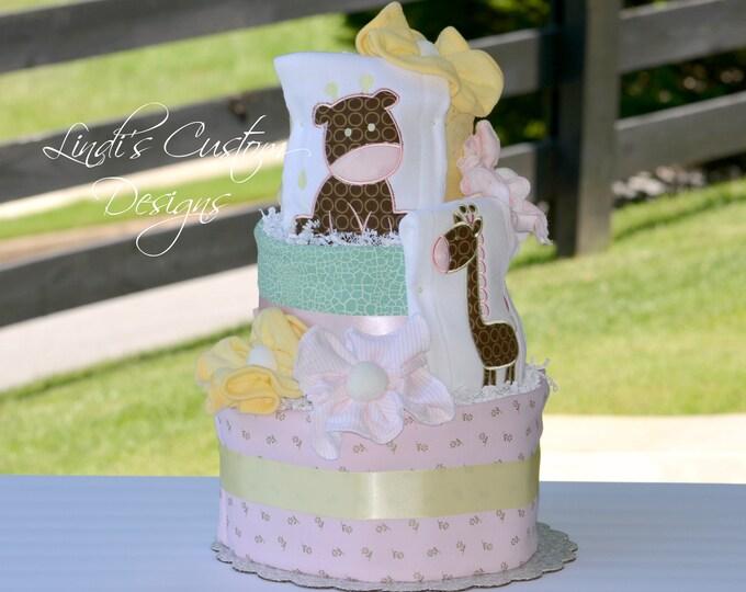 Girl Safari Diaper Cake, Girl Baby Gift, Giraffe Diaper Cake, Girl Jungle Diaper Cake Baby Shower Centerpiece, Embroidered Personalized Gift