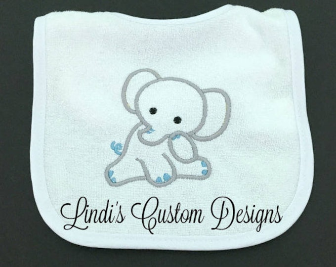 Elephant Bib Embroidered, Blue Gray Embroidered Elephant Baby Bib, Boy Baby Gift, Boy Baby Shower Gift, Embroidered Unique Baby Gift