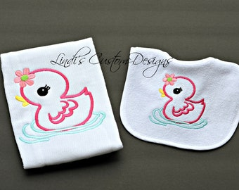 Girl Baby Gift, Embroidered Rubber Ducky Bib and Burp Cloth Set, Unique Baby Gift, Girl Duck Baby Gift, Girl Bib Burp Cloth Set