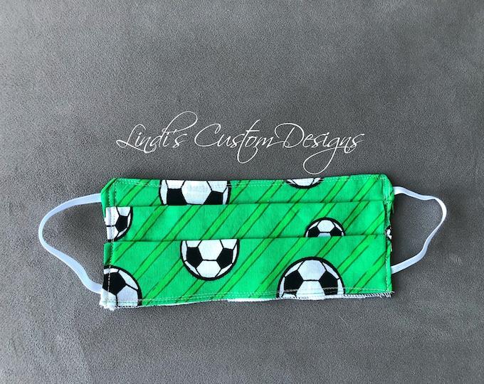 Face Mask Reversible Cotton Soccer Print Fabric Design, Cosmetic Face Mask, Black White Checker Board Face Mask, Soccer Fabric Face Mask