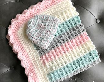 Girl Baby Blanket, Crochet Girl Baby Blanket and Beanie Hat, Pink Gray Sage Ivory Baby Blanket, Girl Baby Shower Gift, Nursery Baby Blanket