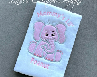Girl Baby Gift, Girl Elephant Embroidered Burp Cloth, Unique Baby Gift, Mommy's Lil' Peanut Baby Gift, Lil' Peanut Burp Cloth, Elephant Baby