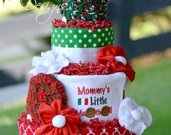 Neutral Diaper Cake, Italian Diaper Cake, Red White Green Diaper Cake, Mommy's Little Meatball, Italian Baby Gift, Italian Baby Shower Decor