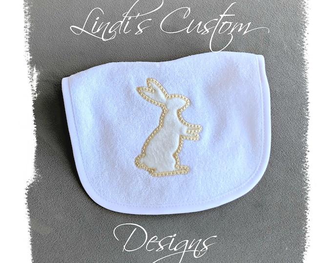 Bunny Baby Bib, Embroidered Baby Bib, Neutral Baby Bib, Neutral Baby Gift, Rustic Baby Bib, Bunny Baby Shower, Ivory Bunny Baby Bib