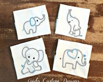 Elephant Blue Gray Washcloth Set, Embroidered Baby Washcloth Set, Unique Baby Gift, Elephant Baby Shower Gift, Elephant Washcloths