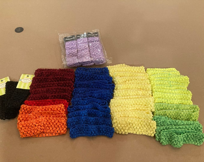 "Stretch Crochet Headbands Set of 61 Boutique DeStash Stretch Crochet Headbands, 1"" - 1.5"" Width, Multicolor Headband Set of 61"