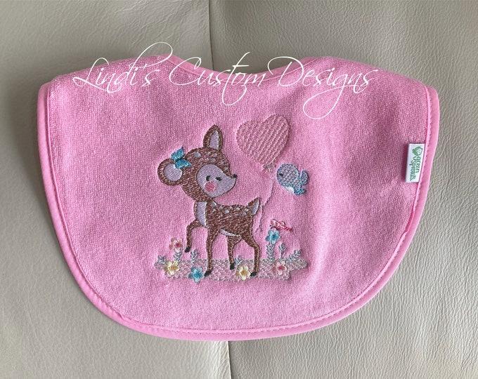 Embroidered Baby Bib, Baby Girl Embroidered Bib, Girl Woodland Forest Theme Baby Bib, 1st Birthday Bib, Woodland Baby Shower Gift, Deer Bib