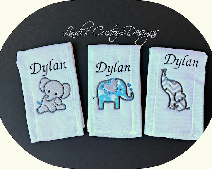 Elephant Embroidered Burp Cloth Set/ Blue Gray Elephant Gift/ Embroidered Elephant Baby Gift/ Unique Baby Gift/ Elephant Burp Cloth Set