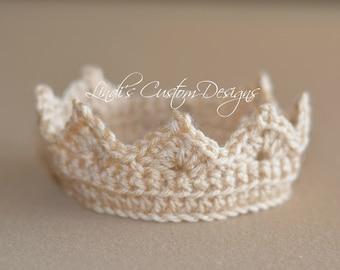 Crochet Newborn Tiara/ Baby Crown/ Newborn Photography Prop/ Hand Crochet Baby Crown Tiara Light Beige Gold/ Unique Baby Gift/ Baby Shower