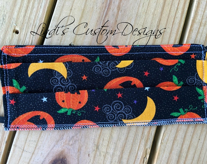 Face Mask Jack-o-lantern Halloween Fabric Design, Cosmetic Face Mask, Laughing Jack-o-lanterns, Fabric Face Mask, Halloween Fabric Face Mask