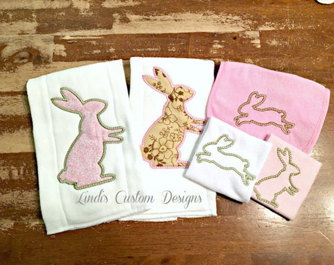 Girl Bunny Embroidered Baby Gift Set, Embroidered Bunny Burp Cloth, Bib, Washcloths, Unique Baby Gift, Pink Brown Green Bunny Rabbit Baby