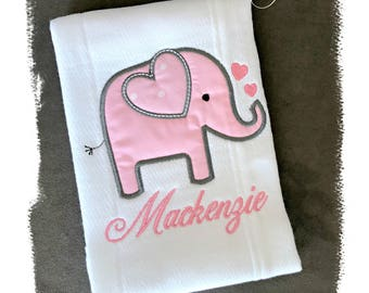 Girl Elephant Burp Cloth, Embroidered Elephant Pink Gray Burp Cloth, Girl Baby Gift, Personalized Embroidered Baby Gift, Unique Baby Gift
