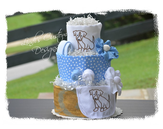 Boy Diaper Cake, Embroidered Puppy Dog Diaper Cake Baby Shower Table Centerpiece Gift, Baby Blue Brown Puppy Diaper Cake, Baby Shower Cake