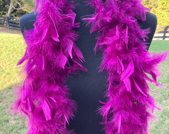 Mulberry Purple Turkey Feather Boa 55 Gram 6 Feet, Halloween Purplish Feather Boa Costume Accessory