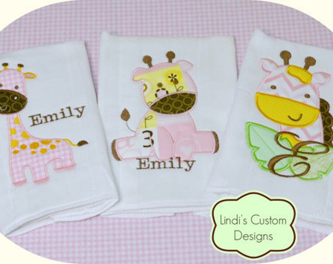 Girl Giraffe Burp Cloth Gift Set, Embroidered Personalized Girl Burp Cloth Set, Unique Baby Gift, Baby Shower Burp Cloth Gift Set