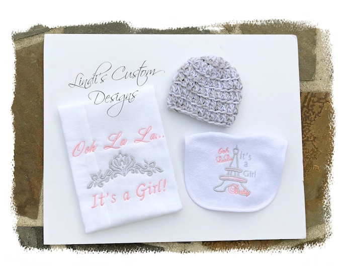 Girl Embroidered Baby Gift Set, Crochet Newborn Beanie Hat, Embroidered Ooh La La It's A Girl Burp Cloth and Baby Bib Set, Pink Gray Baby