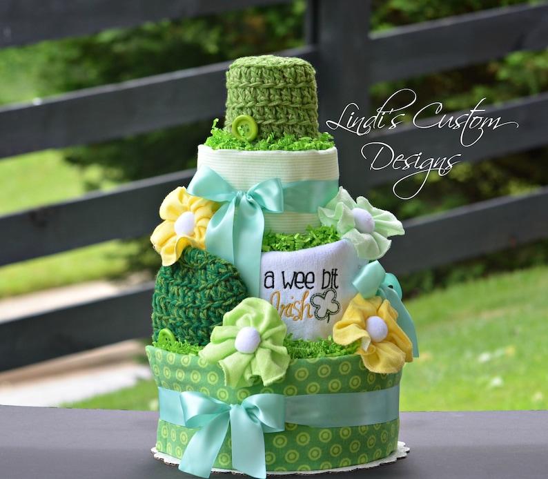 Yellow Green Neutral Diaper Cake Irish Diaper Cake St Etsy