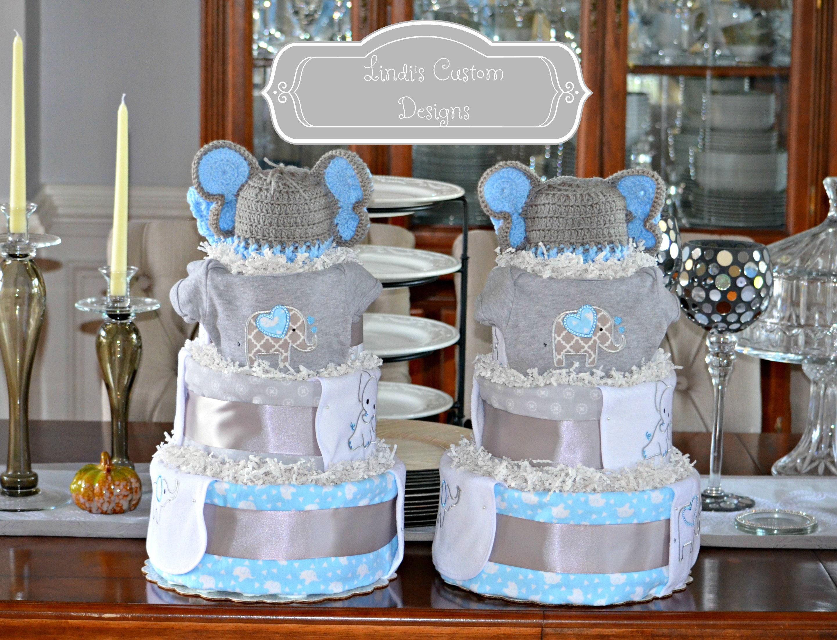 Twin Boy Diaper Cakes Elephant Diaper Cakes Boy Baby Shower Etsy