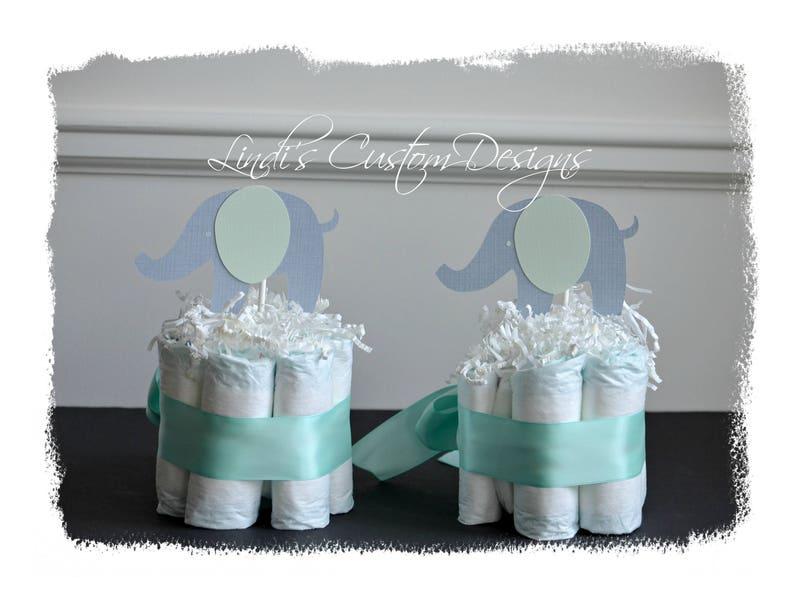 Neutral Elephant Diaper Table Decor Mint Gray Elephant Mini Diaper Table Centerpiece Set of 2 Baby Shower Elephant Mint Gray Table Toppers