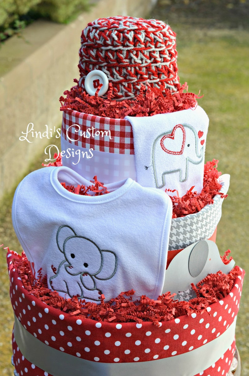 Red Gray Diaper Cake Embroidered Diaper Cake Elephant Diaper Cake Neutral Diaper Cake Neutral Baby Gift Neutral Elephant Diaper Cake