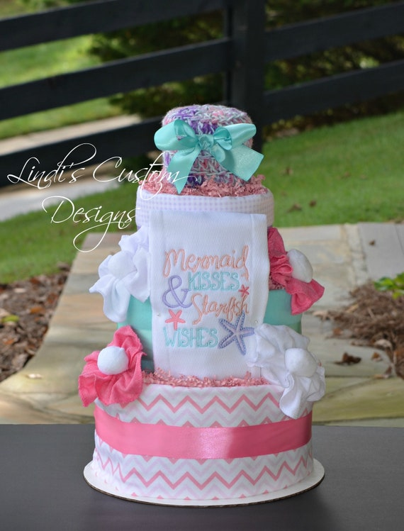 Girl Diaper Cake Mermaid Diaper Cake Mermaid Baby Shower Gift Table Centerpiece Mermaid Kisses Starfish Wishes Under The Sea Baby Shower