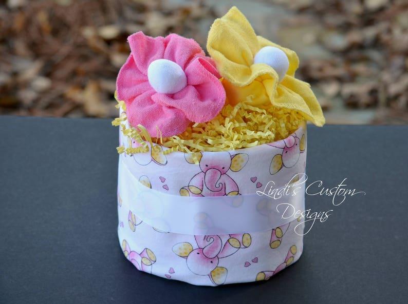 Girl Diaper Cake Elephant Diaper Cake Pink Yellow Elephant Etsy