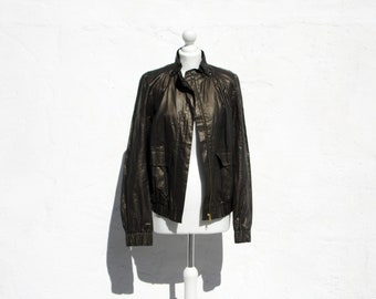 419bf1cde67 Linen bomber jacket wet leather look jacket androgynous bomber jacket  summer bomber jacket