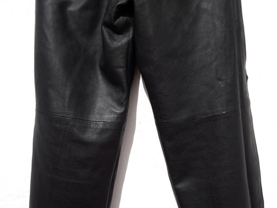 Black leather trousers black leather pants 80s le… - image 10