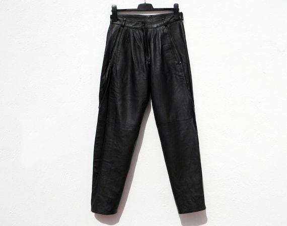 Black leather trousers black leather pants 80s le… - image 5