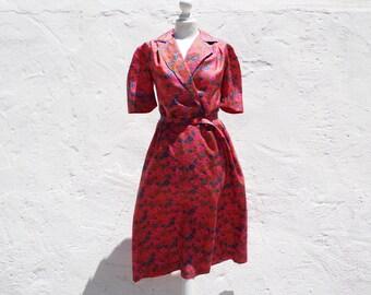 80s floral ress red and blue dress silky dress retro red dress rockabill dress pin up dress red pink dress short sleeve dress summer dress
