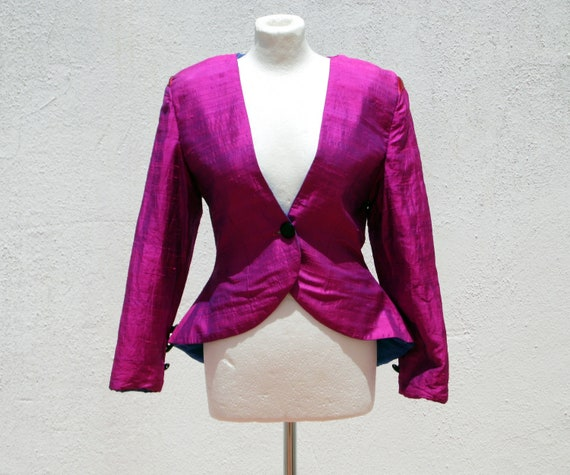 Evening jacket pink jacket fitted jacket 80s jacke