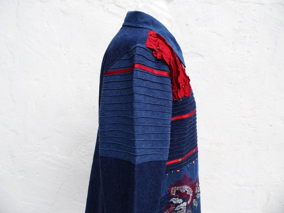 Denim jacket boho jacket patch jacket embroidered… - image 4
