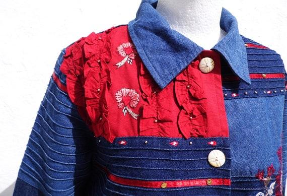 Denim jacket boho jacket patch jacket embroidered… - image 9