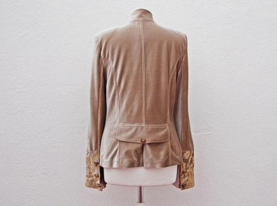 Army style jacket military jacket beige velvet ja… - image 6