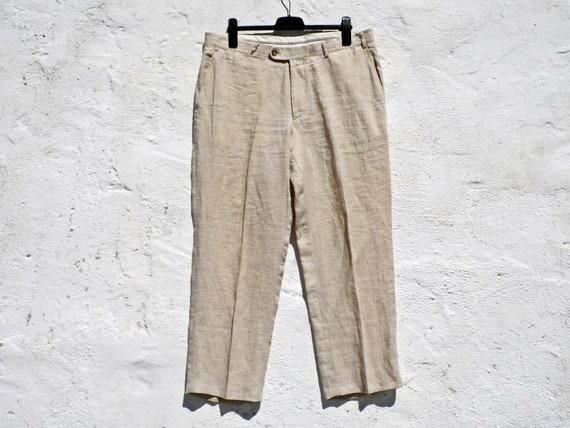 Plaid trousers linen trousers beige linen trousers