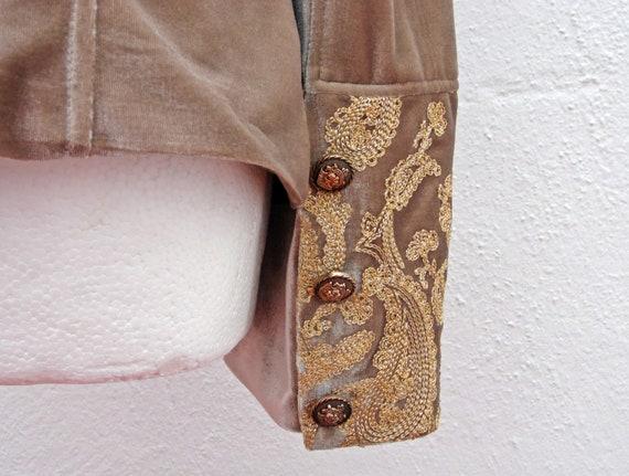 Army style jacket military jacket beige velvet ja… - image 8
