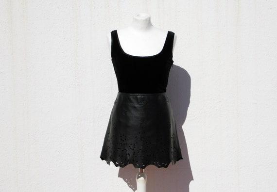 Leather skirt leather mini skirt floral skirt flo… - image 1