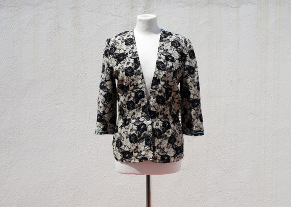 Linen jacket 30s style jacket floral jacket fitted