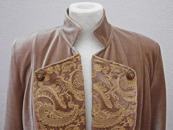 Army style jacket military jacket beige velvet ja… - image 4