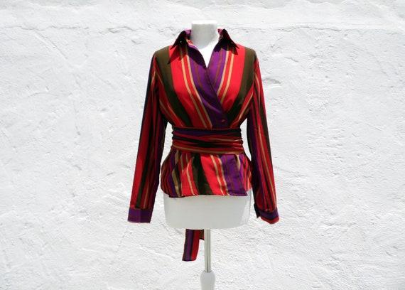 Wrap blouse wrap shirt stripe blouse formal blouse
