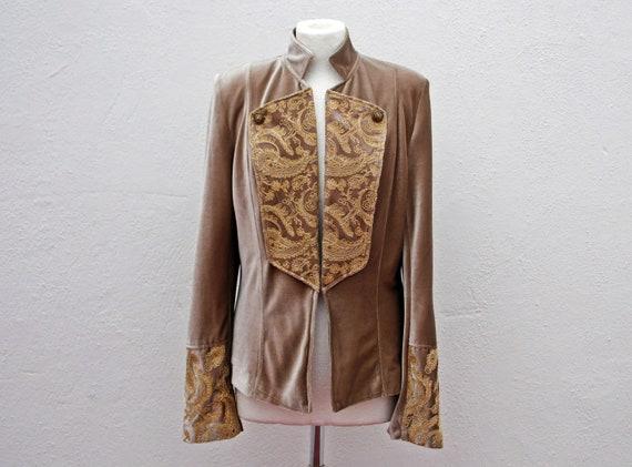 Army style jacket military jacket beige velvet ja… - image 1