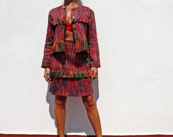Rainbow suit wool suit 80s suit skirt suit formal suit fringe jacket rainbow jacket crop jacket