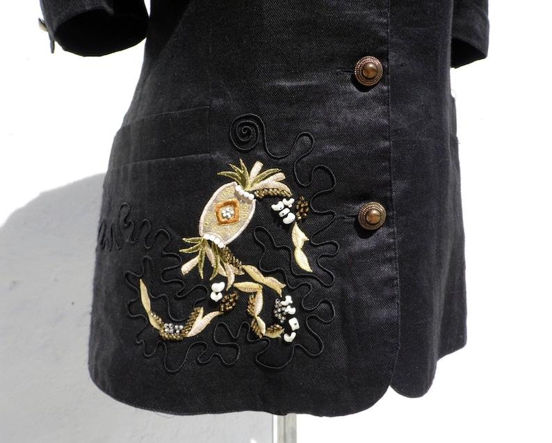 Black linen jacket petite linen jacket embroidered linen jacket black linen blazer petite vegan jacket black vegan jacket petite jacket