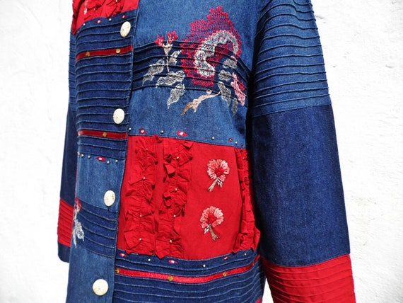 Denim jacket boho jacket patch jacket embroidered… - image 6