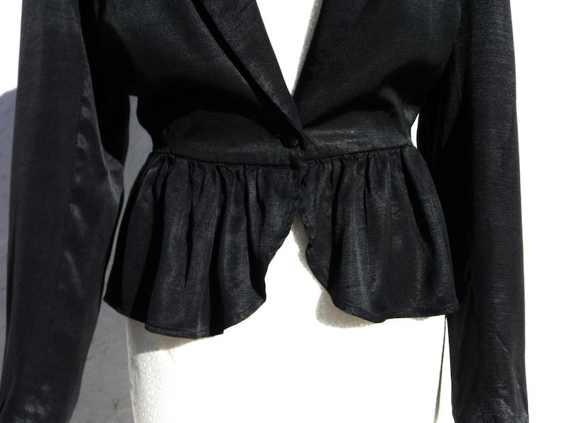 Black evening jacket 20s style jacket elegant jacket black satin jacket pleated jacket black minimalist jacket black evening blouse