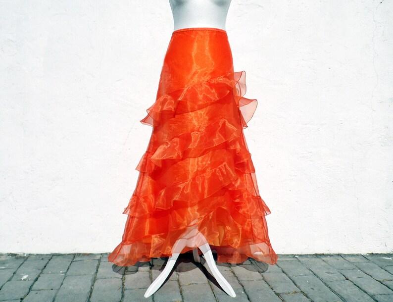 aee5e58c256953 Orange Maxirock Maxi Seidenrock Rüschen Rock Maxi-Rock orange | Etsy