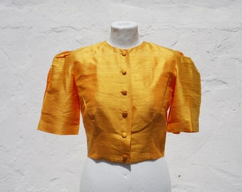 Yellow crop jacket silk crop jacket silk bolero jacket silk crop top
